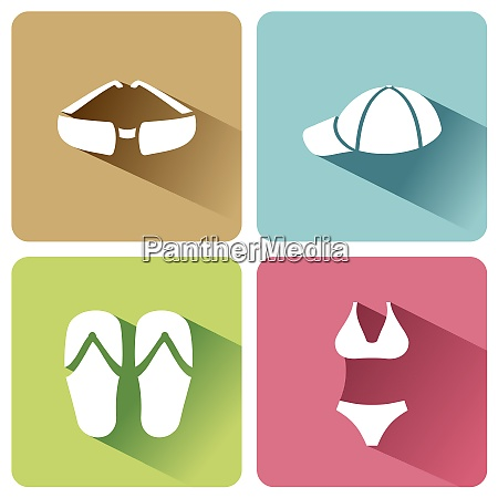 summer clothes icons with shadow on