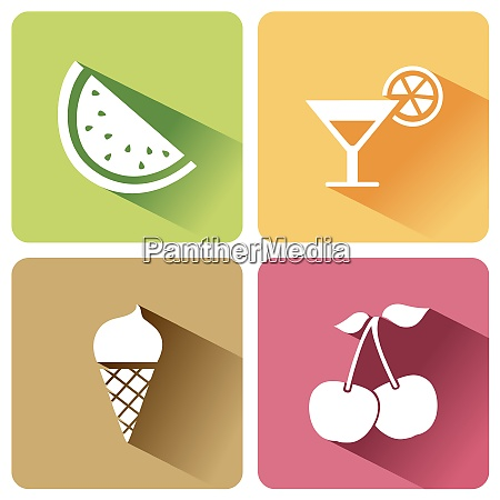 summer food icons with shadow on