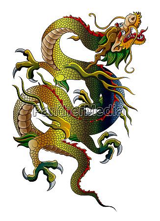 chinese dragon traditionalmythology ancient metallic illustration