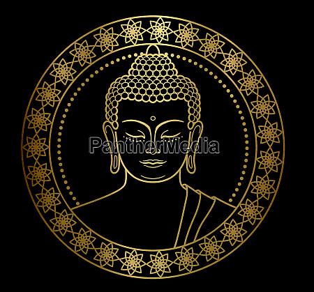 gold buddha kopf meditation zen schwarz