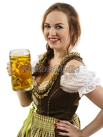 oktoberfest waitress holding beer