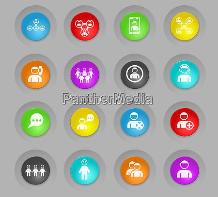 gemeinschaft farbigen kunststoff runden schaltflaechen icon