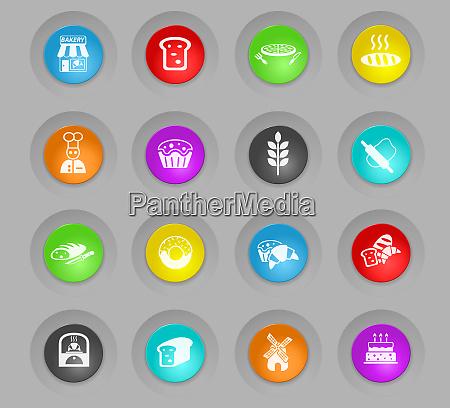 baeckerei farbigen kunststoff runden schaltflaechen icon