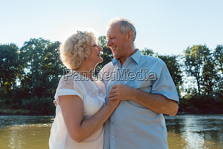 romantic senior couple enjoying a healthy