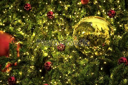 nahaufnahme hintergrundbild von dekorierten outdoor weihnachtsbaum