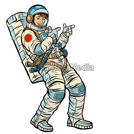 astronaut junger mann punktet isolieren auf