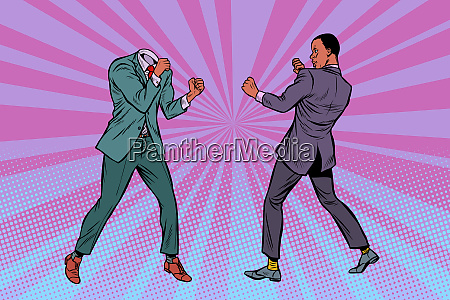 two men businessman fighting pattern without