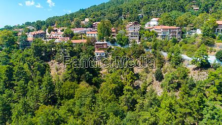 aerial pano platres village limassol cyprus