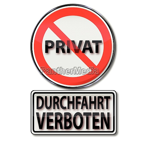 shield with passage prohibited and private
