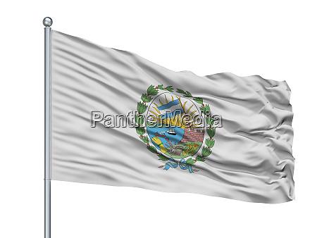 rosario city flag on flagpole argentina