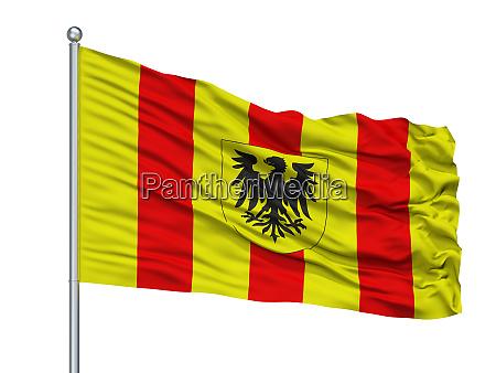 mechlin city flag on flagpole belgium