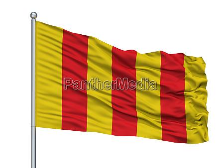 mortsel city flag on flagpole belgium