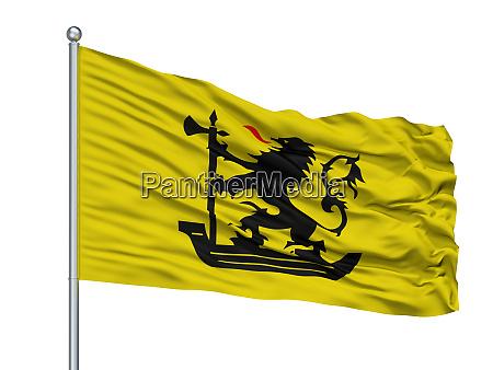 nieuwpoort city flag on flagpole belgium
