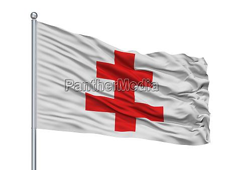 ypres city flag on flagpole belgium