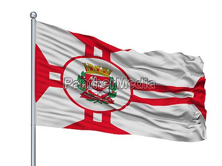 sao paulo city flag on flagpole
