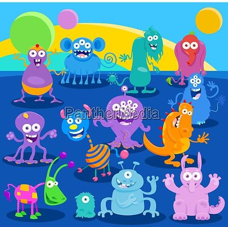 cartoon fantasy monster or alien characters