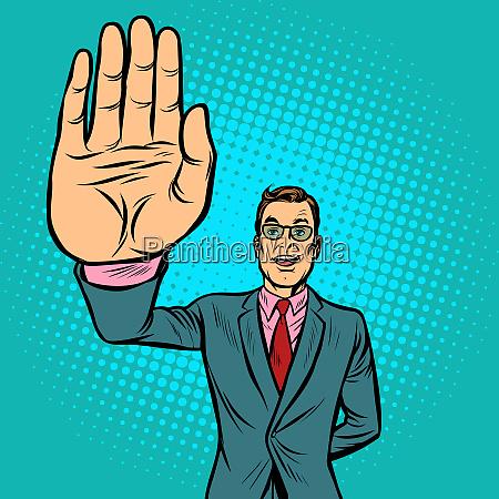 man stop hand gesture