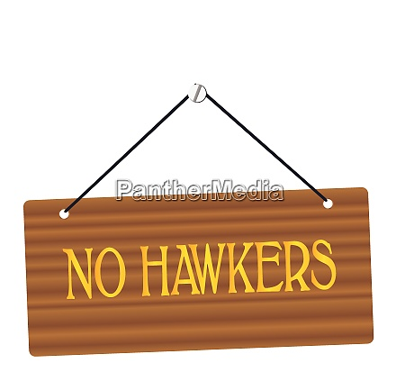 no hawkers wooden sign