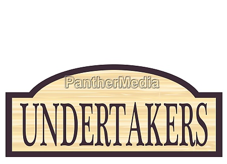 wooden undertakers store sign
