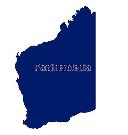 silhouette naderkarte des bundesstaates westaustralien ueber