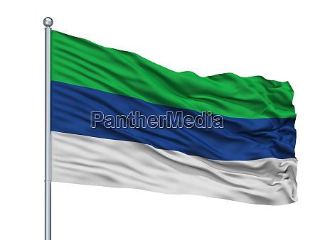mitu city flag on flagpole colombia