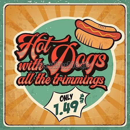 retro advertising restaurant sign for hot