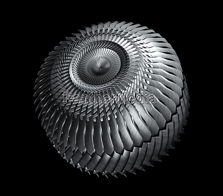 machine gear with rotating blades isolated