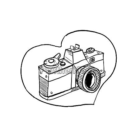 vintage, 35mm, spiegelreflexkamera, herzfehler - 25892844