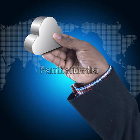 business man showing concept of cloud