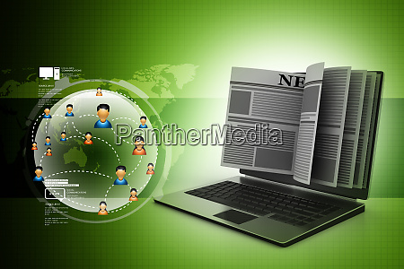 news through a laptop screen concept