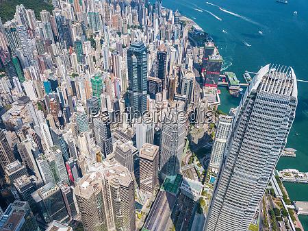 drone fly over hong kong urban