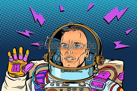 astronaut hello geste