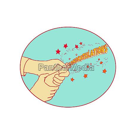 herzlichen glueckwunsch hand popping champagner zeichnung