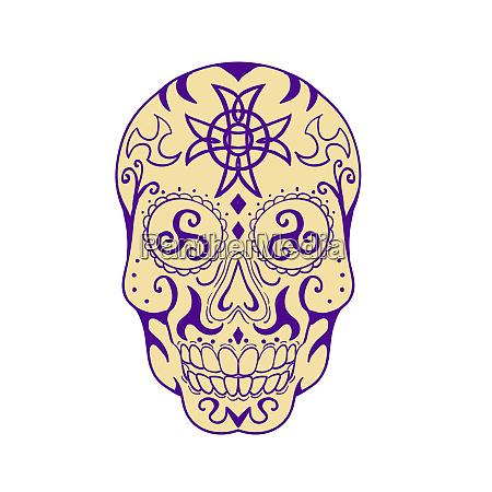 mexikanischer schaedel mit triskele und keltischem