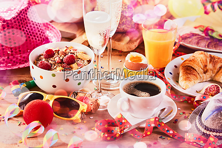 carnival breakfast with party accessories