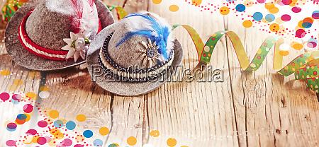 oktoberfest carnival background with bavarian hats