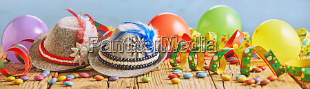 colorful wide panorama banner with party
