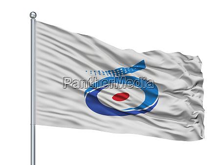 shirakwa city flag on flagpole japan
