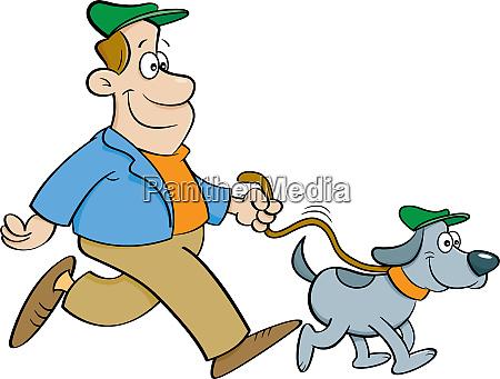 cartoon illustration of a man walking