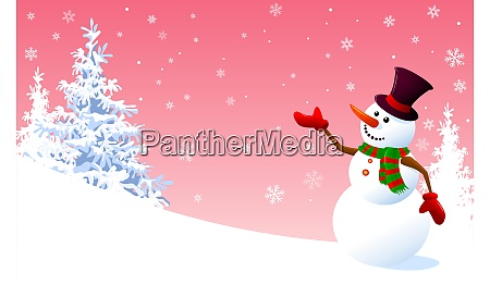 snowman on a background of pink