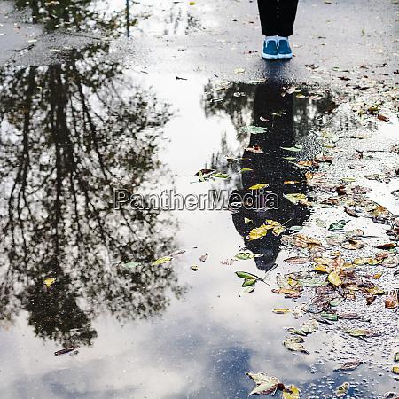 fallen leaves and teenager near rain
