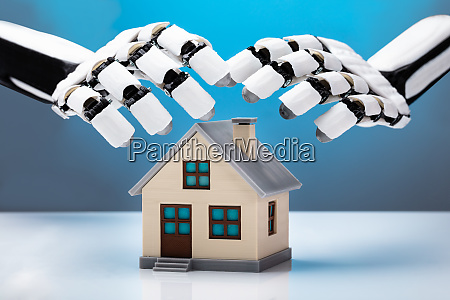 robot protecting house model