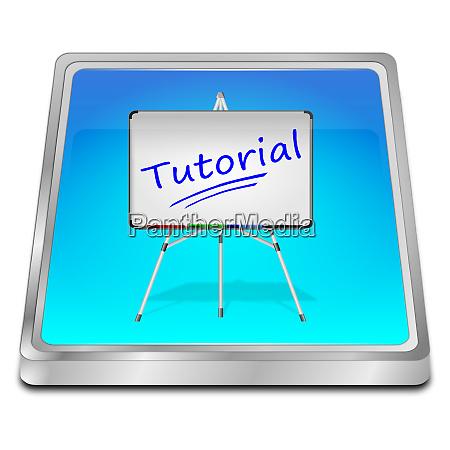 glaenzend blauer tutorial button 3d illustration