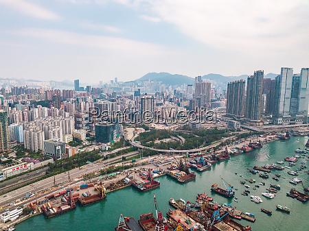 hong kong city at aerial view