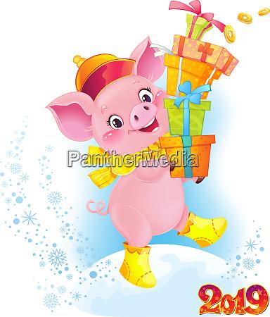 gelbes erdschwein mit geschenkboxen niedliches symbol