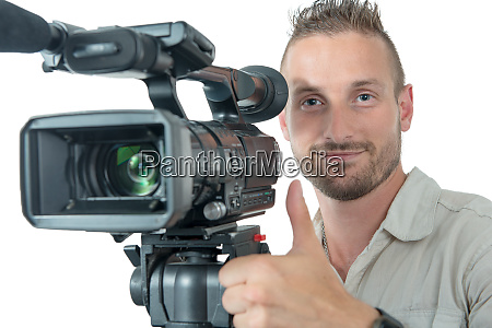 cameraman with professional camcorder make ok