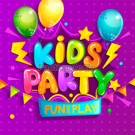 kids party welcome banner in cartoon