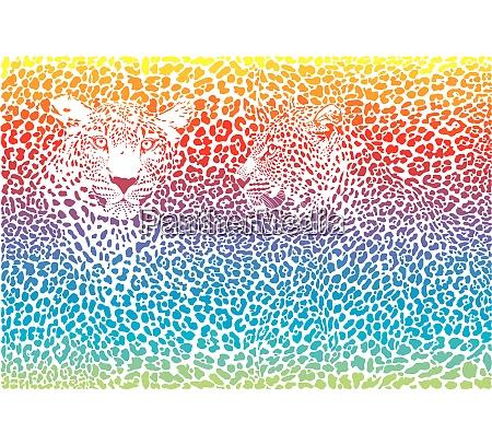 leoparden regenbogenmuster hintergrund