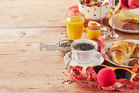 carnival breakfast border with party accessories