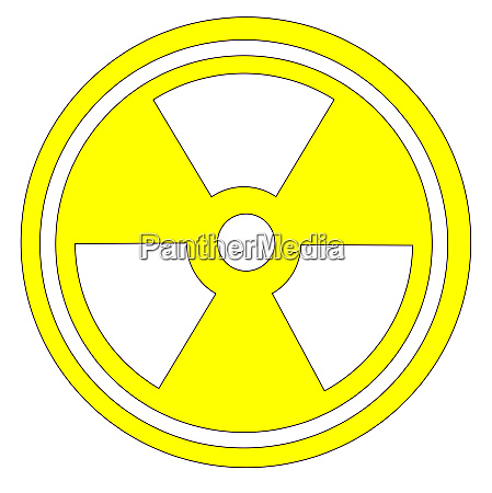 caution radioactive sign in yellow